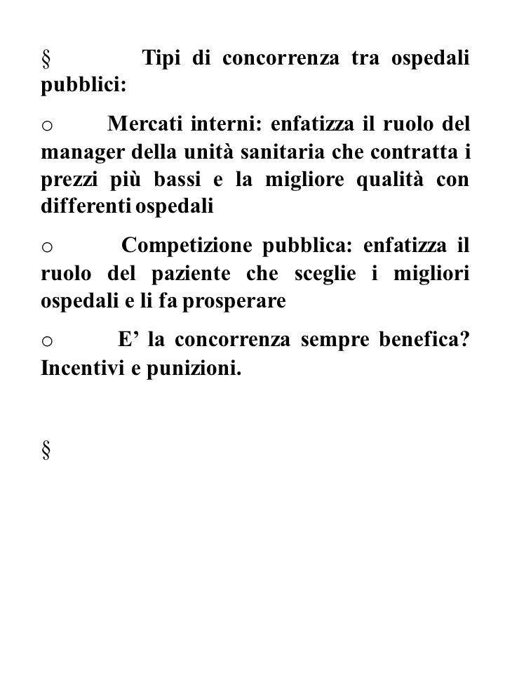 § Tipi di concorrenza tra ospedali pubblici: