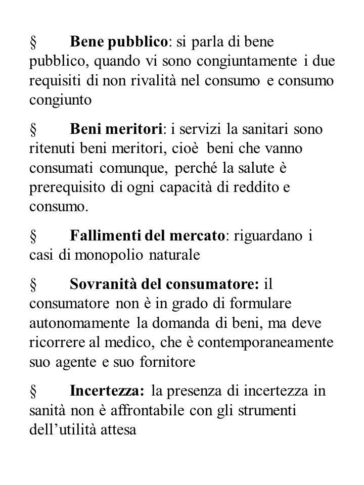 § Bene pubblico: si parla di bene pubblico, quando vi sono congiuntamente i due requisiti di non rivalità nel consumo e consumo congiunto