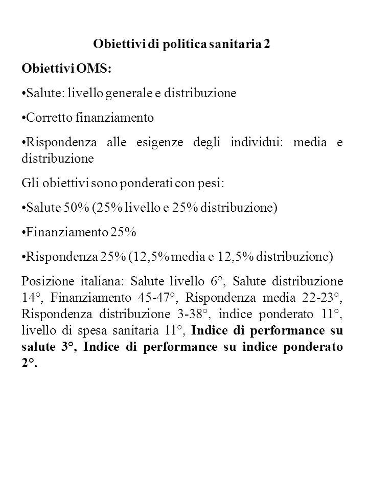 Obiettivi di politica sanitaria 2