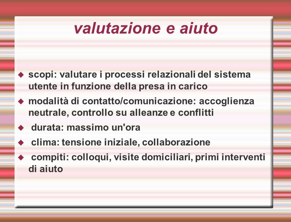 valutazione e aiuto scopi: valutare i processi relazionali del sistema utente in funzione della presa in carico.