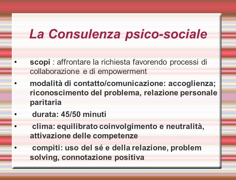 La Consulenza psico-sociale