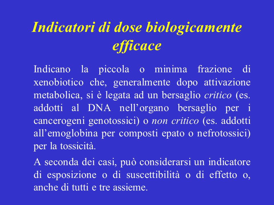 Indicatori di dose biologicamente efficace
