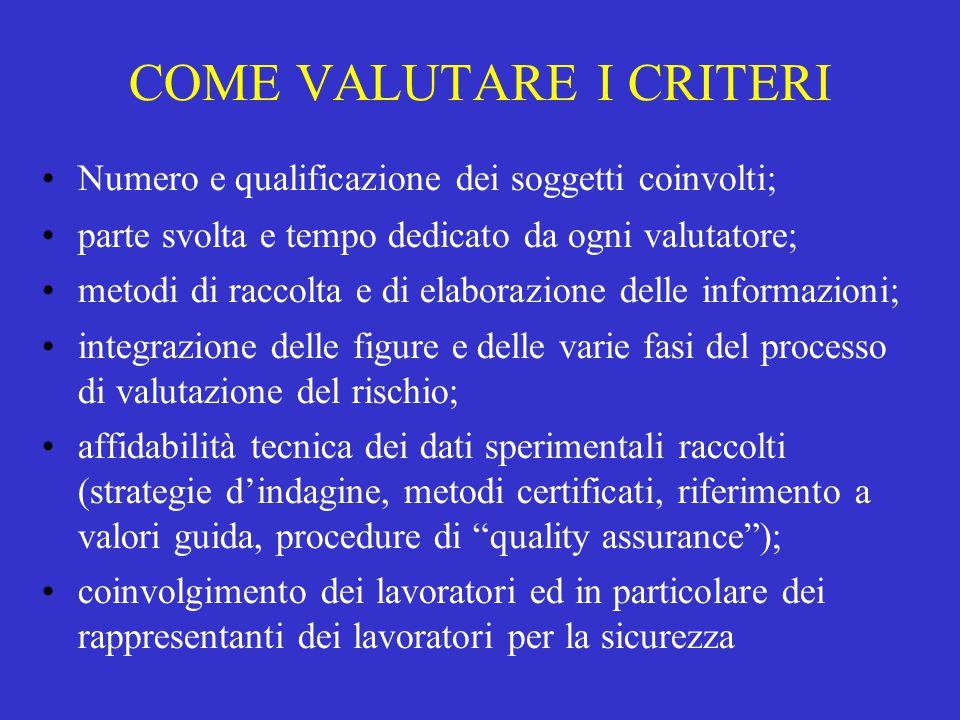 COME VALUTARE I CRITERI
