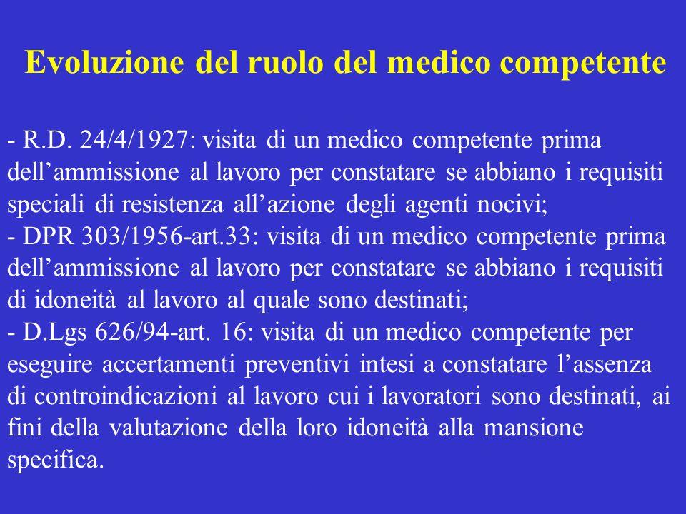 Evoluzione del ruolo del medico competente - R. D