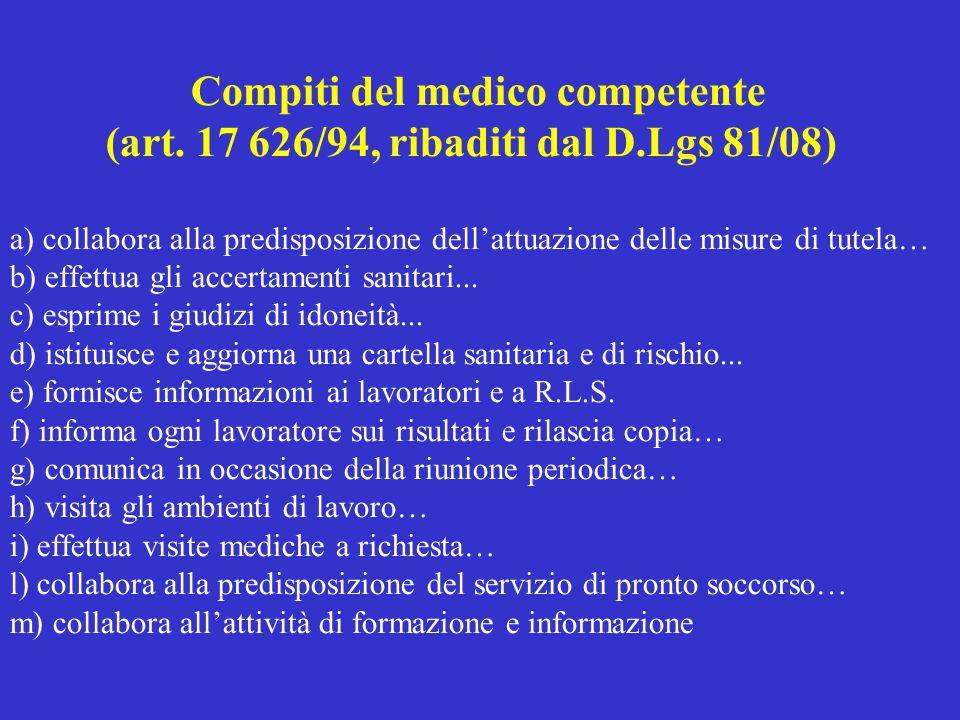 Compiti del medico competente (art. 17 626/94, ribaditi dal D