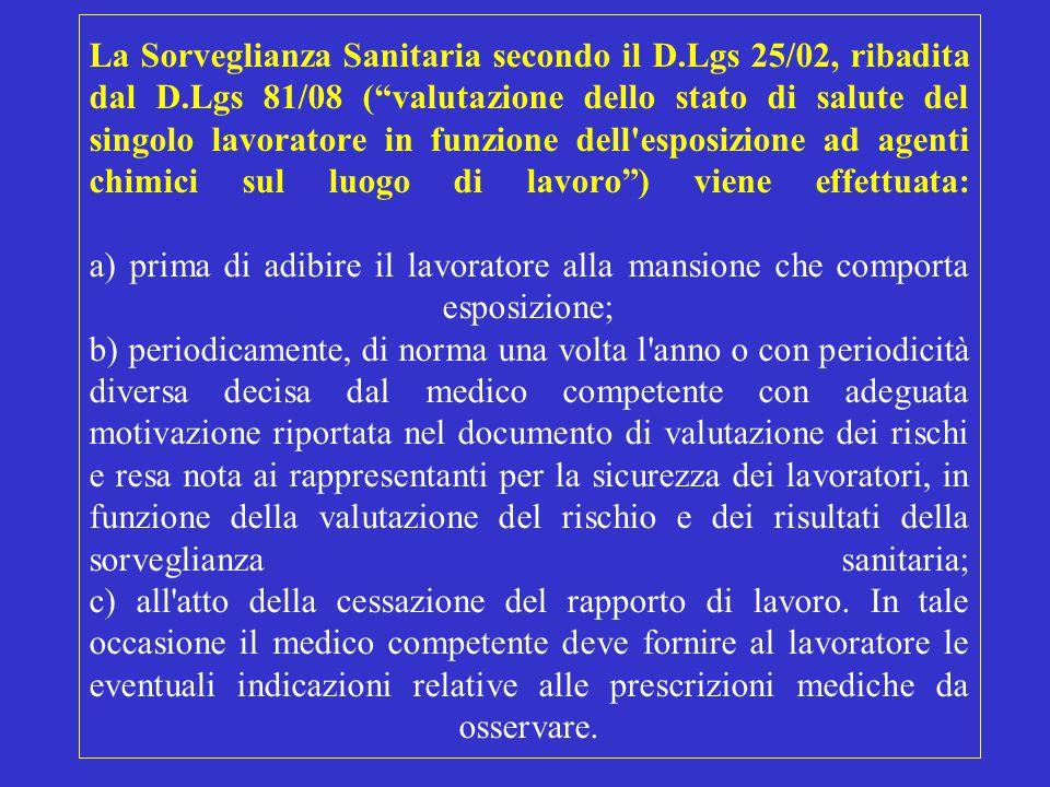 La Sorveglianza Sanitaria secondo il D. Lgs 25/02, ribadita dal D