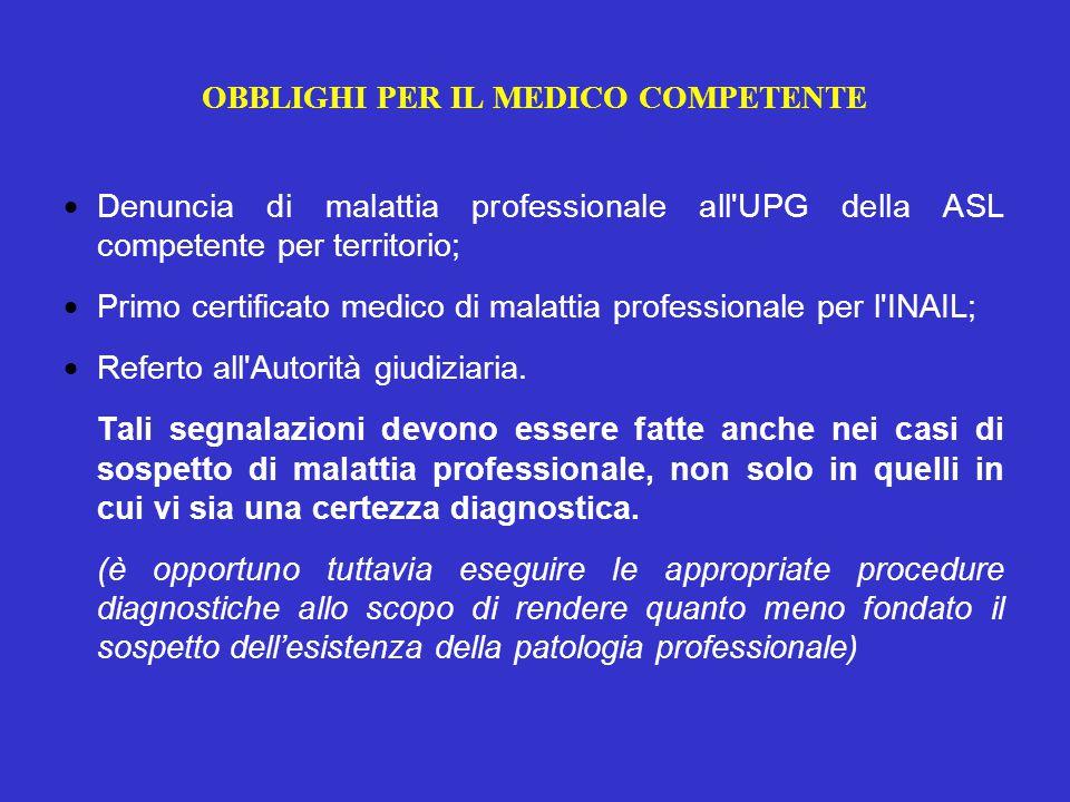 OBBLIGHI PER IL MEDICO COMPETENTE