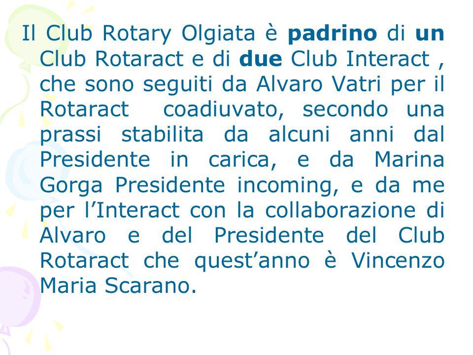 Il Club Rotary Olgiata è padrino di un Club Rotaract e di due Club Interact , che sono seguiti da Alvaro Vatri per il Rotaract coadiuvato, secondo una prassi stabilita da alcuni anni dal Presidente in carica, e da Marina Gorga Presidente incoming, e da me per l'Interact con la collaborazione di Alvaro e del Presidente del Club Rotaract che quest'anno è Vincenzo Maria Scarano.