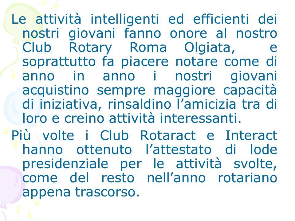 Le attività intelligenti ed efficienti dei nostri giovani fanno onore al nostro Club Rotary Roma Olgiata, e soprattutto fa piacere notare come di anno in anno i nostri giovani acquistino sempre maggiore capacità di iniziativa, rinsaldino l'amicizia tra di loro e creino attività interessanti.