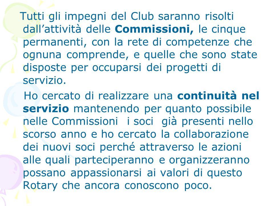 Tutti gli impegni del Club saranno risolti dall'attività delle Commissioni, le cinque permanenti, con la rete di competenze che ognuna comprende, e quelle che sono state disposte per occuparsi dei progetti di servizio.