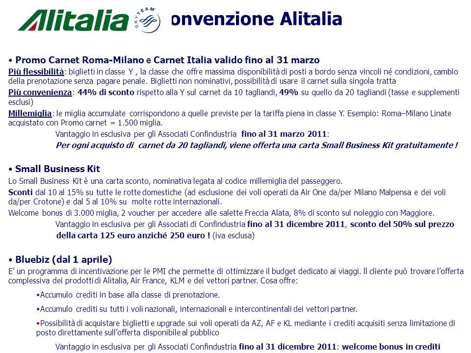 Convenzione Alitalia Promo Carnet Roma-Milano e Carnet Italia valido fino al 31 marzo.