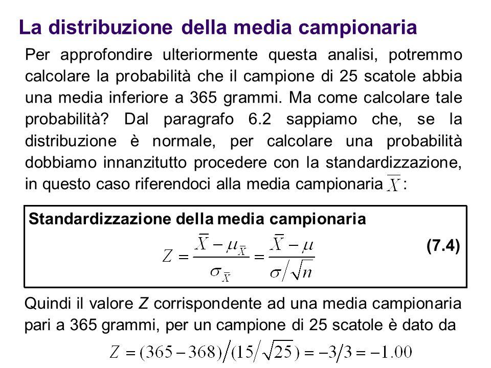 La distribuzione della media campionaria