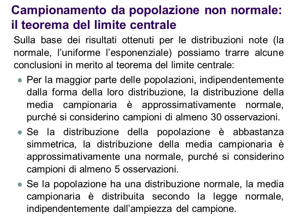 Campionamento da popolazione non normale: il teorema del limite centrale