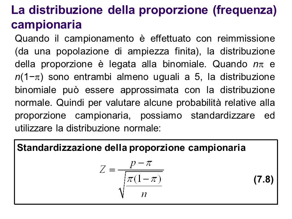 La distribuzione della proporzione (frequenza) campionaria