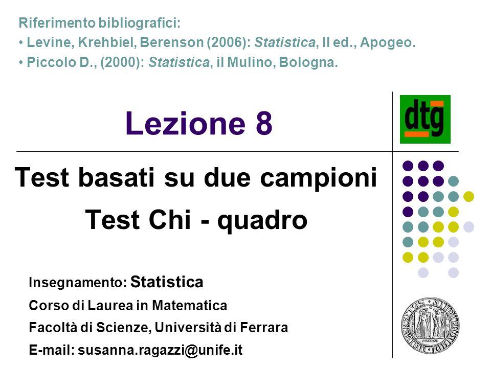 Test basati su due campioni Test Chi - quadro