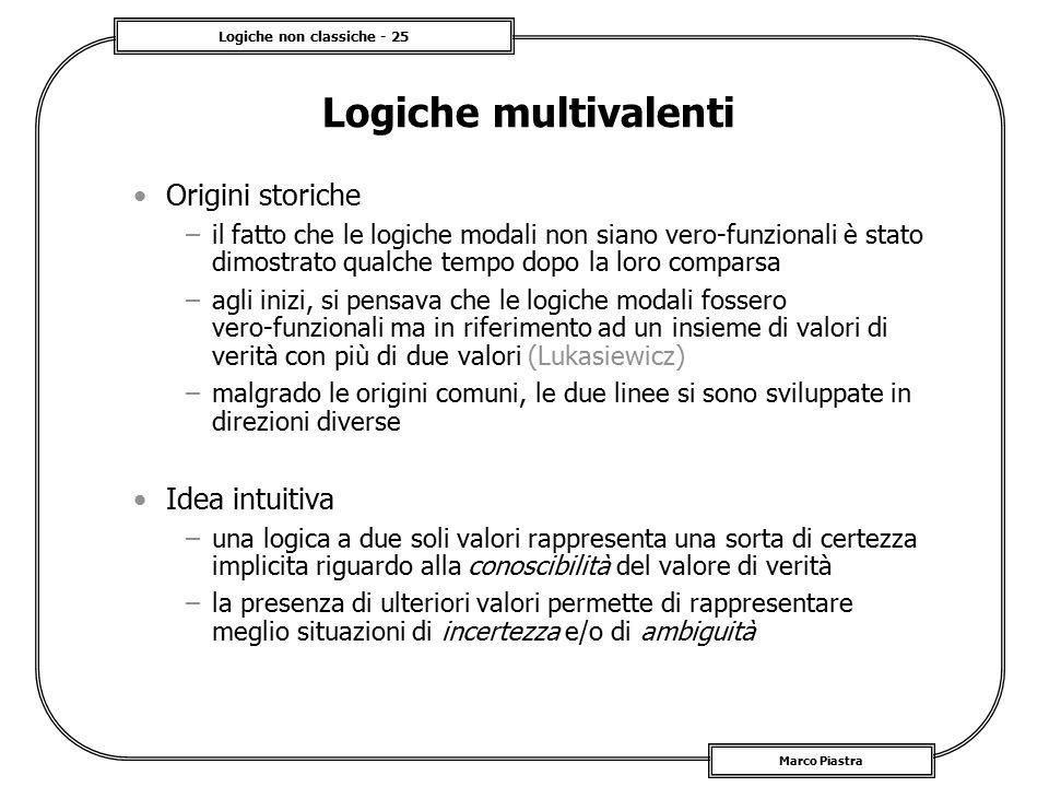 Logiche multivalenti Origini storiche Idea intuitiva