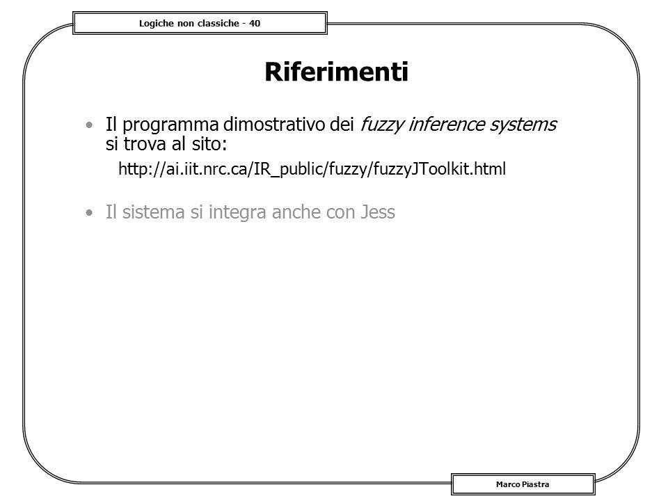 Riferimenti Il programma dimostrativo dei fuzzy inference systems si trova al sito: http://ai.iit.nrc.ca/IR_public/fuzzy/fuzzyJToolkit.html.