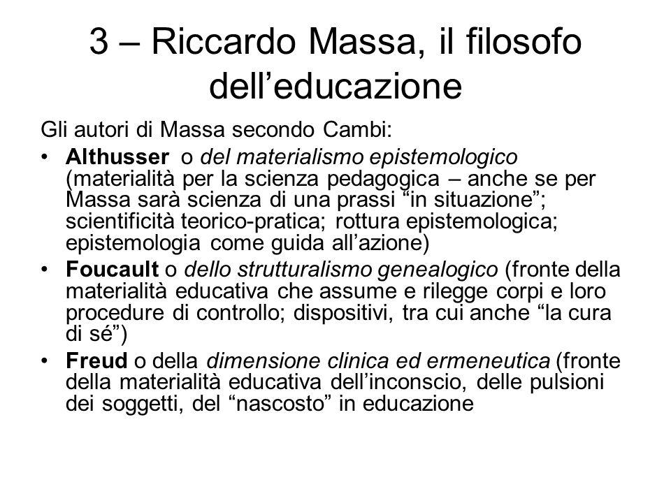 3 – Riccardo Massa, il filosofo dell'educazione