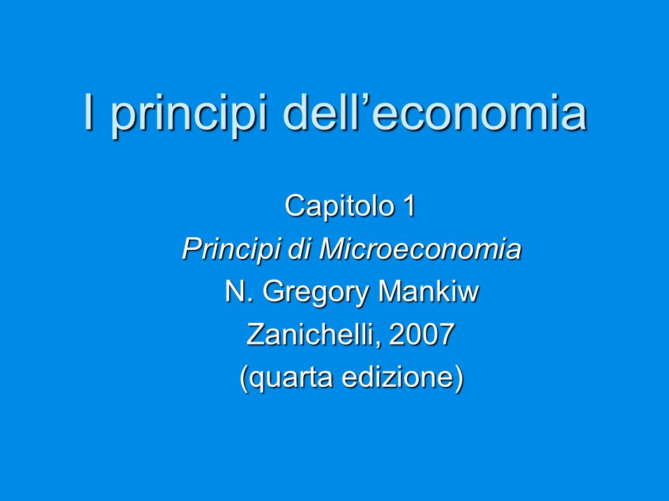 I principi dell'economia