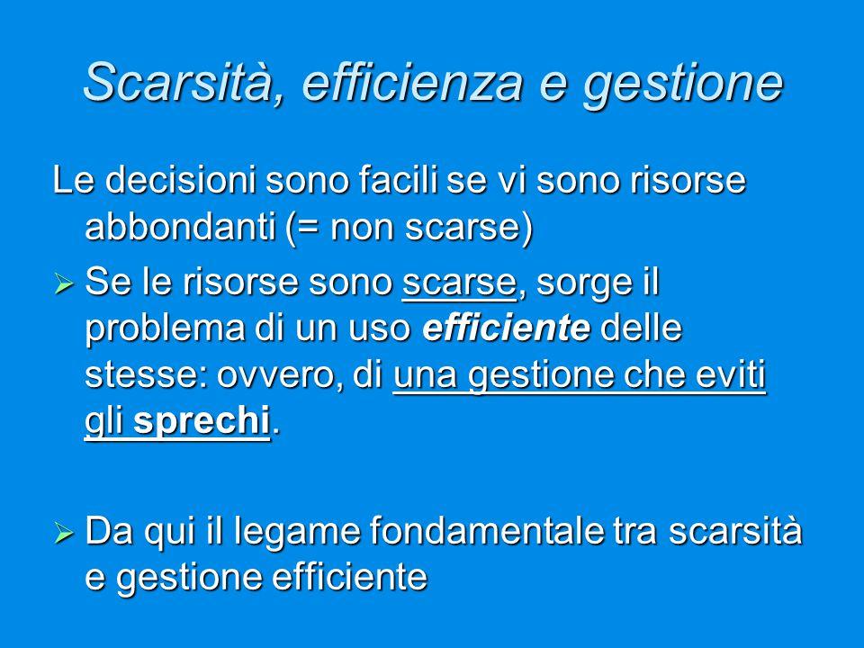 Scarsità, efficienza e gestione