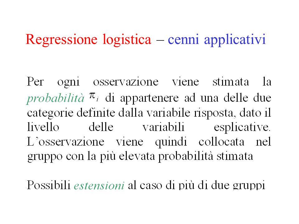 Regressione logistica – cenni applicativi