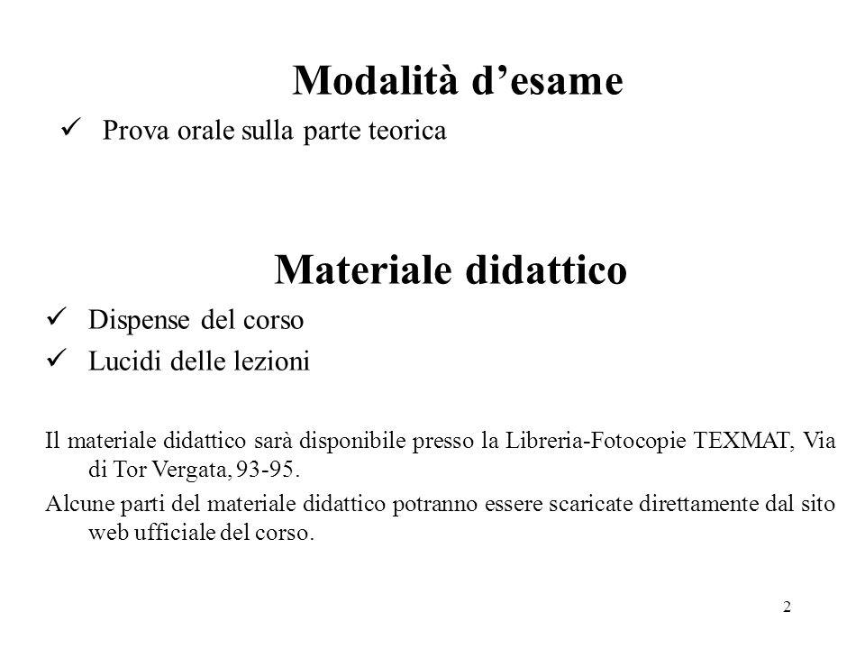 Modalità d'esame Materiale didattico Prova orale sulla parte teorica