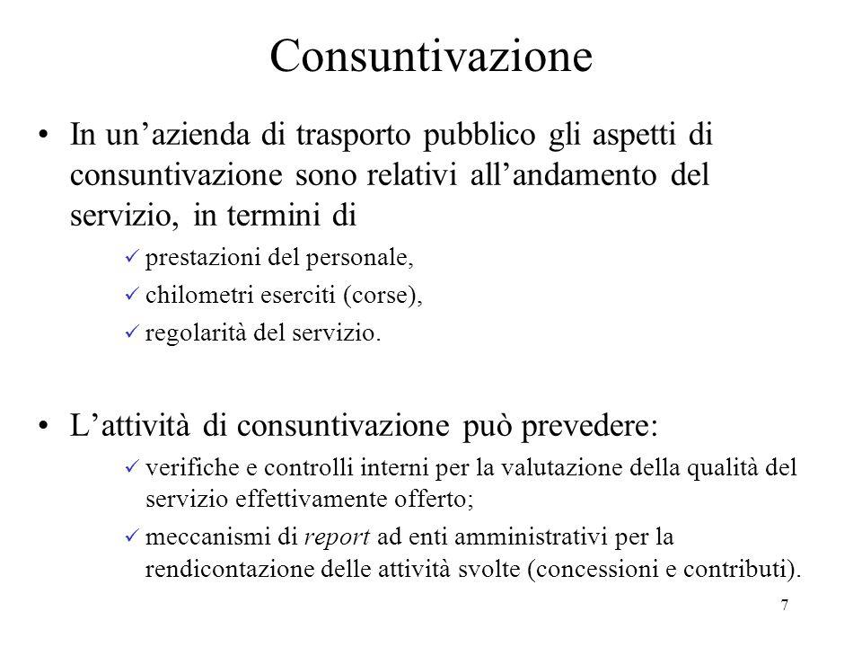 Consuntivazione In un'azienda di trasporto pubblico gli aspetti di consuntivazione sono relativi all'andamento del servizio, in termini di.