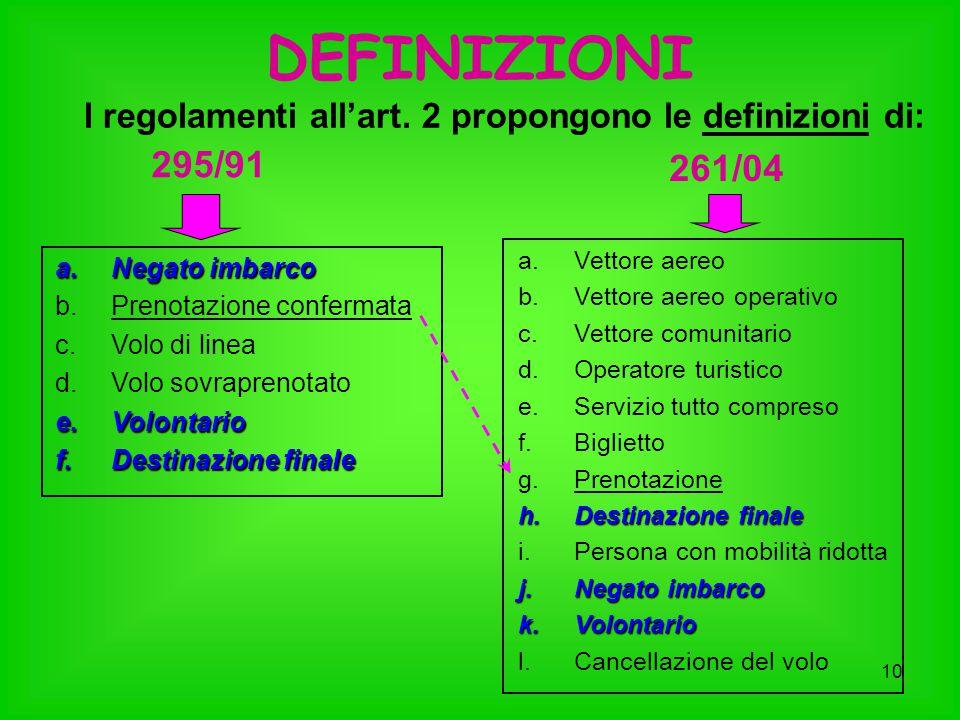 I regolamenti all'art. 2 propongono le definizioni di: