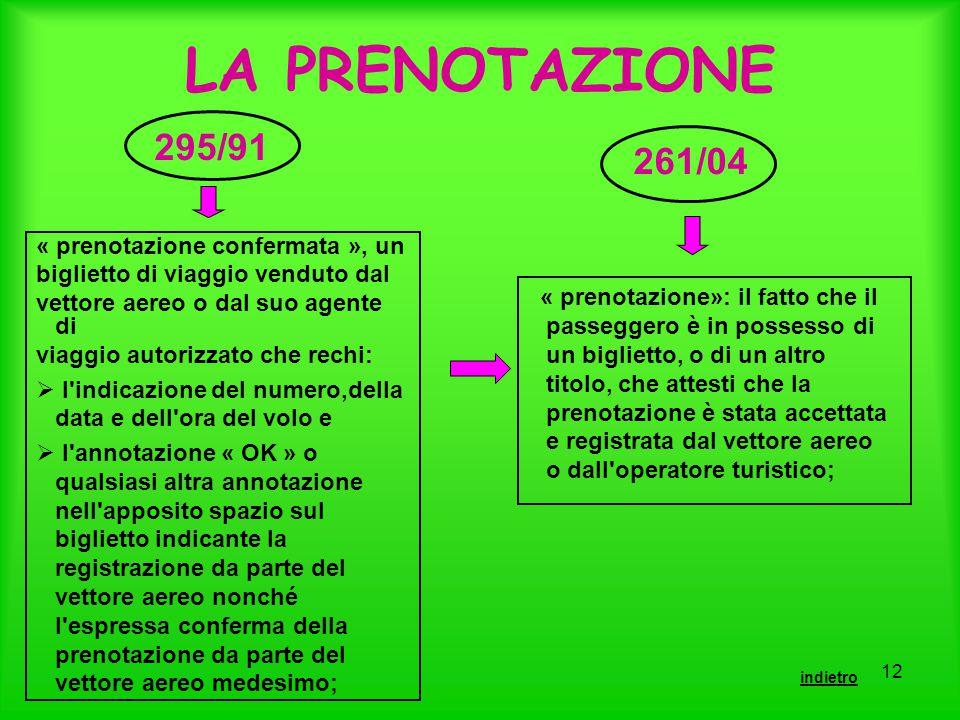LA PRENOTAZIONE 295/91 261/04 « prenotazione confermata », un