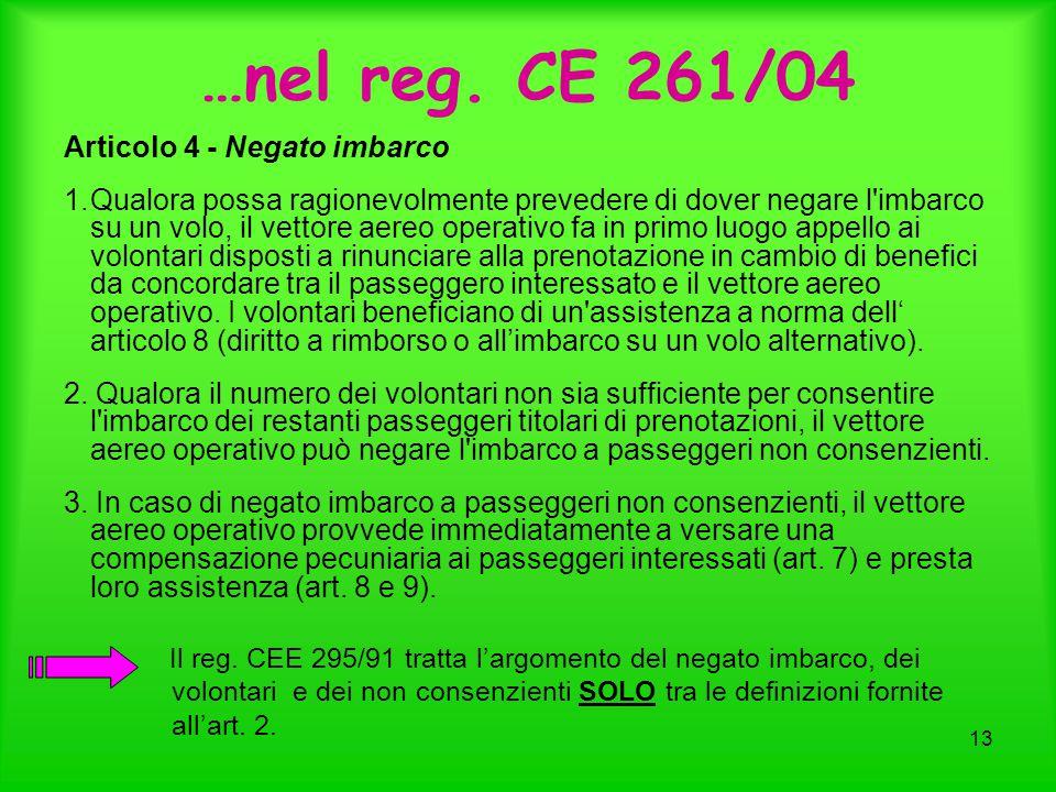 …nel reg. CE 261/04 Articolo 4 - Negato imbarco