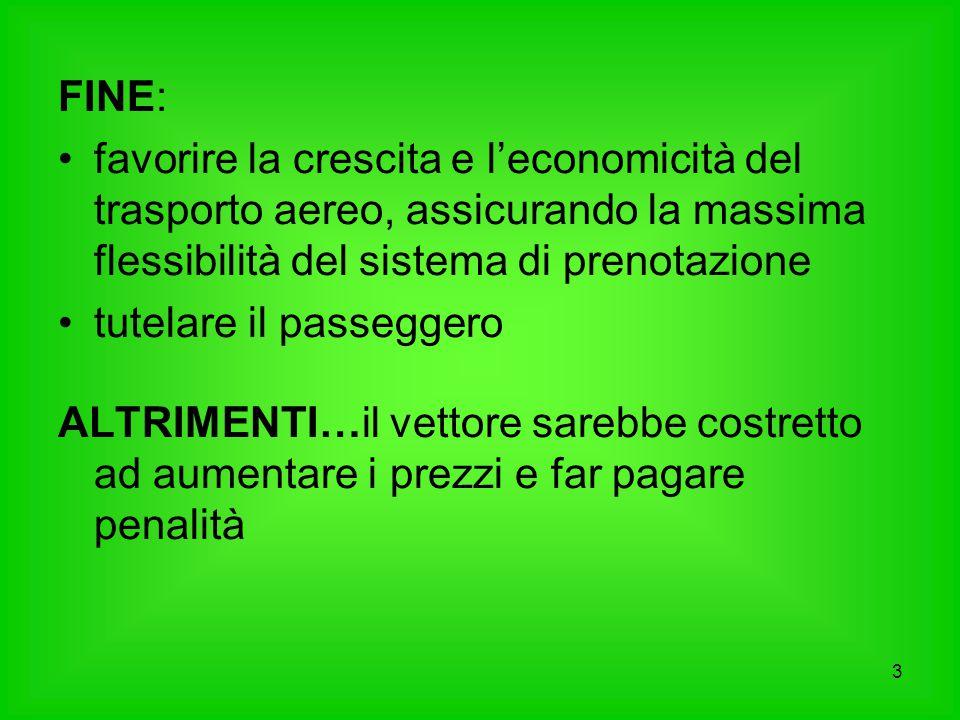 FINE: favorire la crescita e l'economicità del trasporto aereo, assicurando la massima flessibilità del sistema di prenotazione.