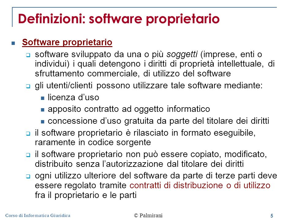 Definizioni: software proprietario