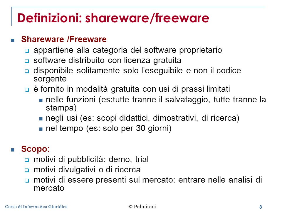Definizioni: shareware/freeware