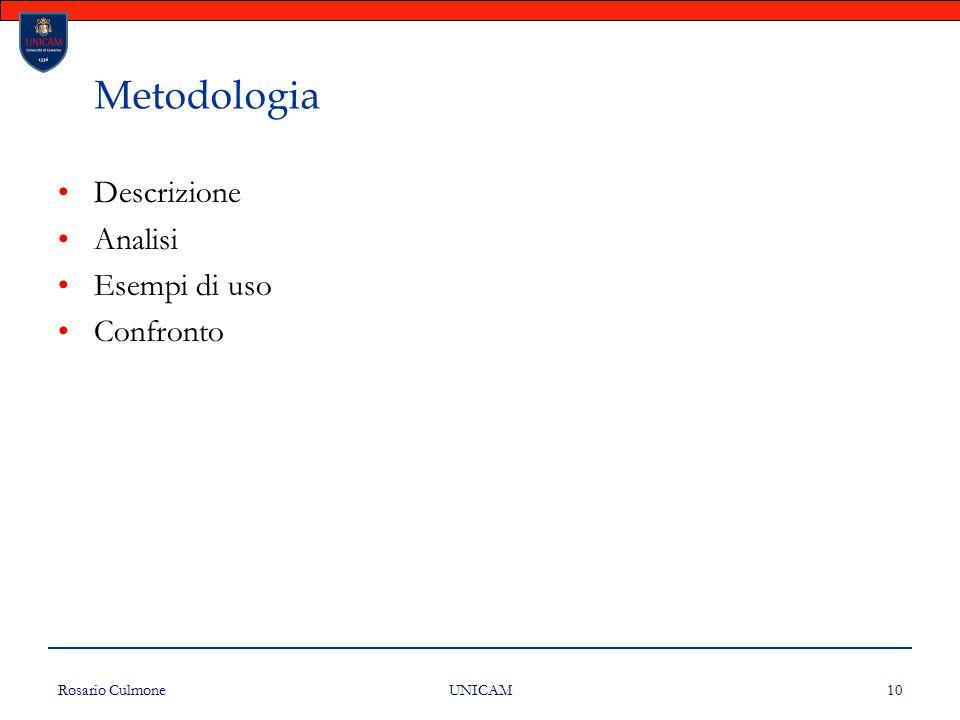 Metodologia Descrizione Analisi Esempi di uso Confronto