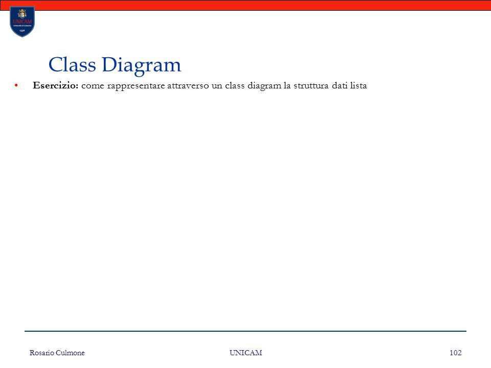 Class Diagram Esercizio: come rappresentare attraverso un class diagram la struttura dati lista. Rosario Culmone.