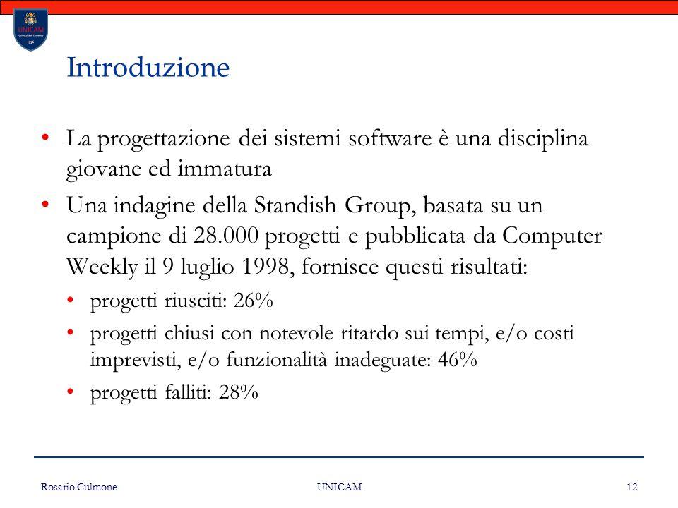 Introduzione La progettazione dei sistemi software è una disciplina giovane ed immatura.