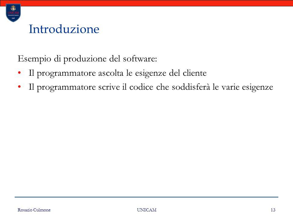 Introduzione Esempio di produzione del software: