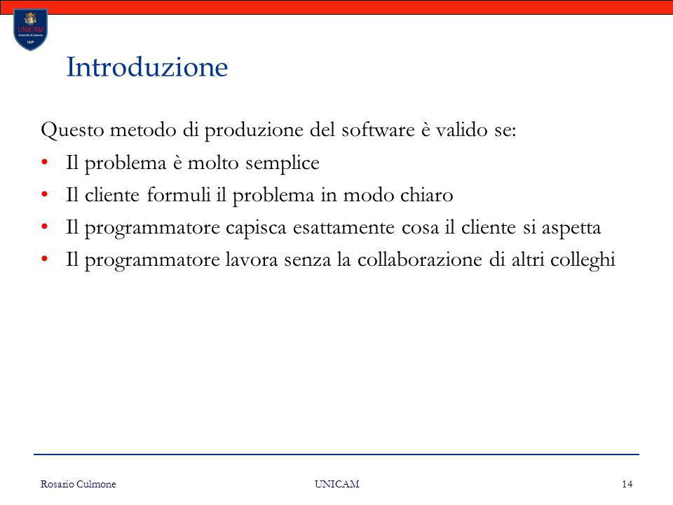 Introduzione Questo metodo di produzione del software è valido se: