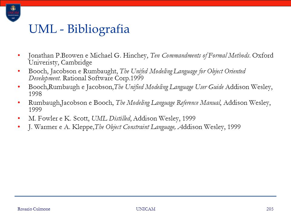 UML - Bibliografia Jonathan P.Browen e Michael G. Hinchey, Ten Commandments of Formal Methods. Oxford Univeristy, Cambridge.
