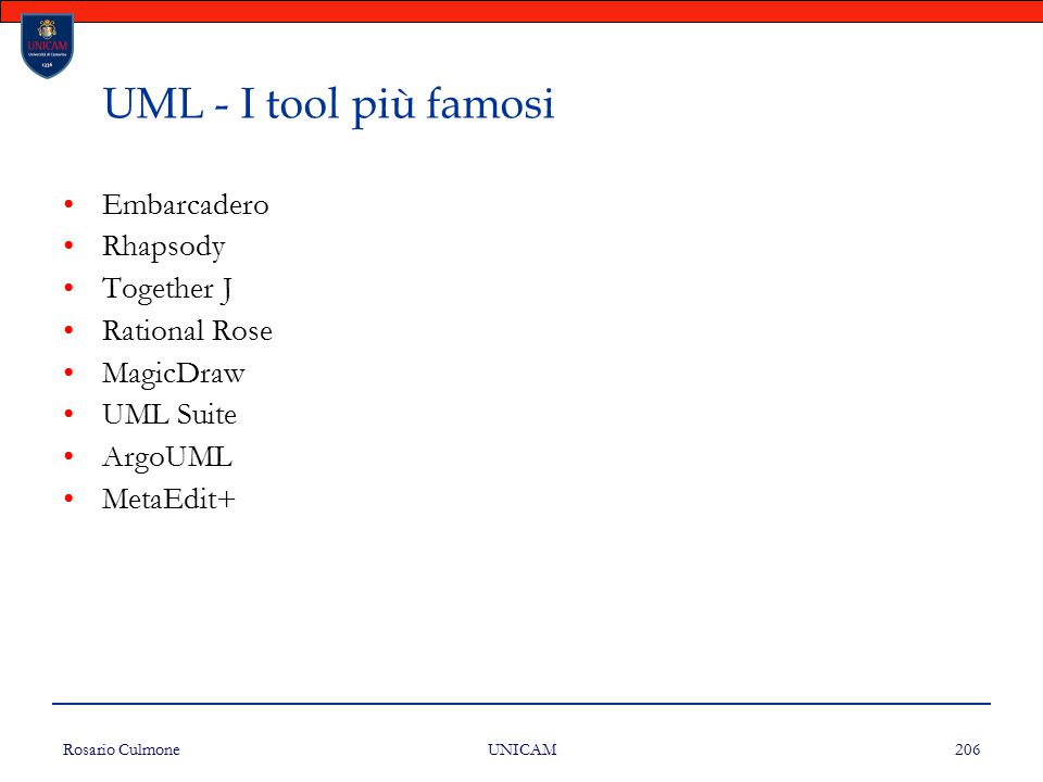 UML - I tool più famosi Embarcadero Rhapsody Together J Rational Rose