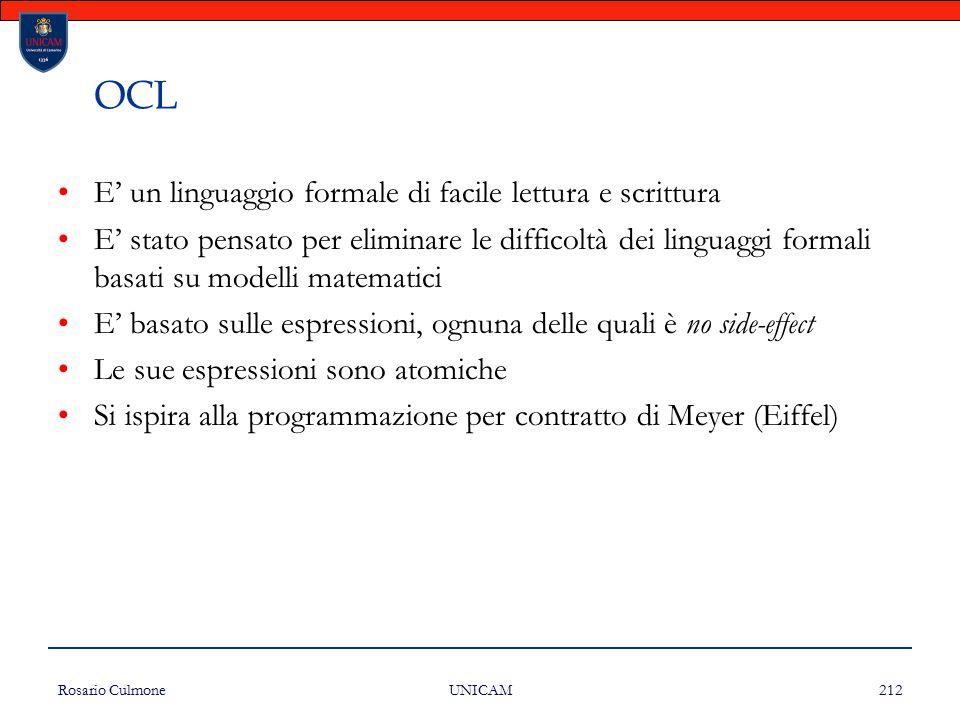 OCL E' un linguaggio formale di facile lettura e scrittura