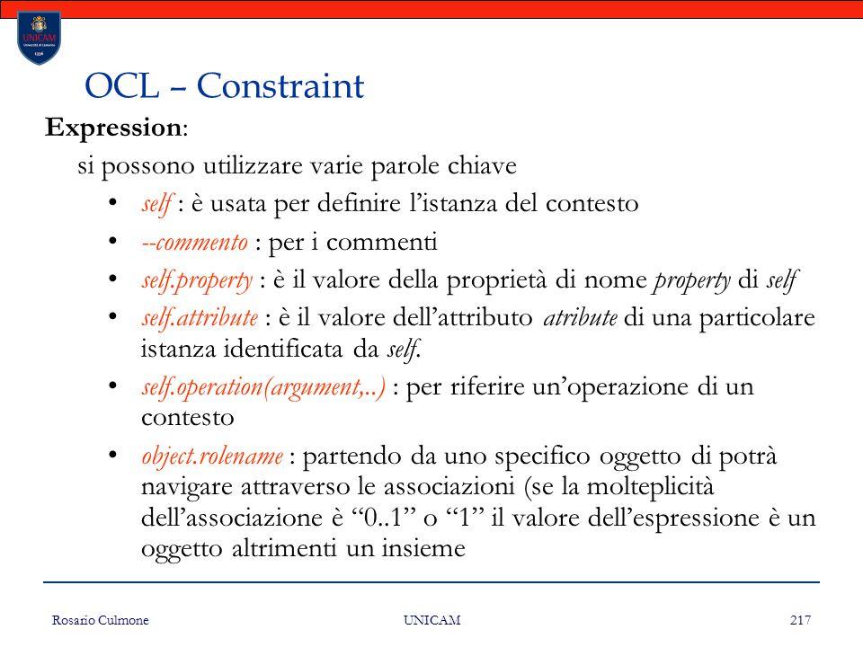 OCL – Constraint Expression: si possono utilizzare varie parole chiave