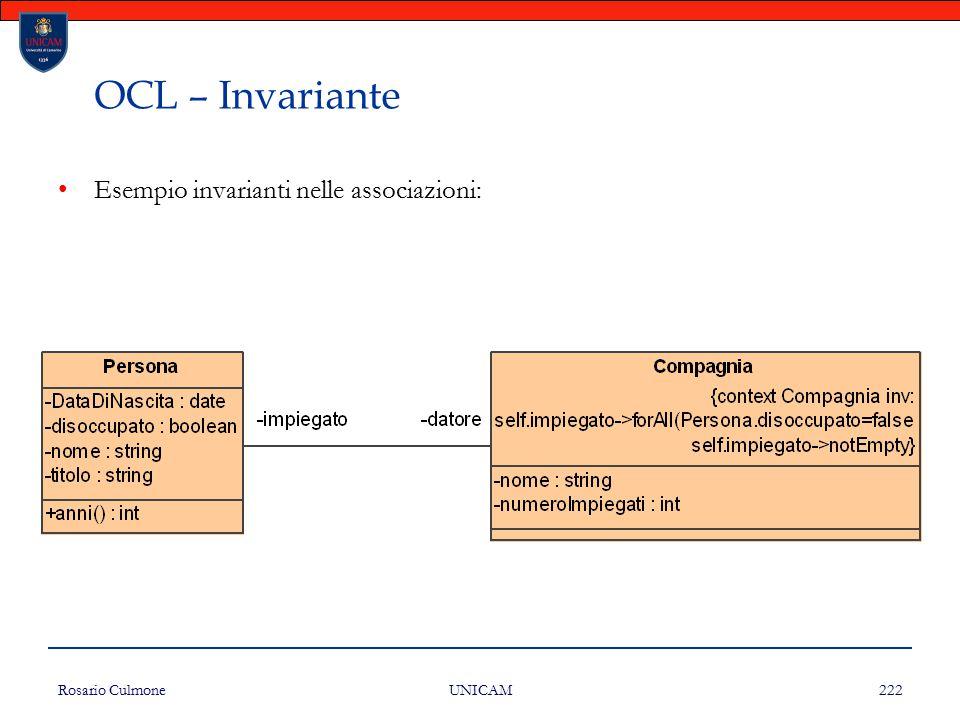 OCL – Invariante Esempio invarianti nelle associazioni: