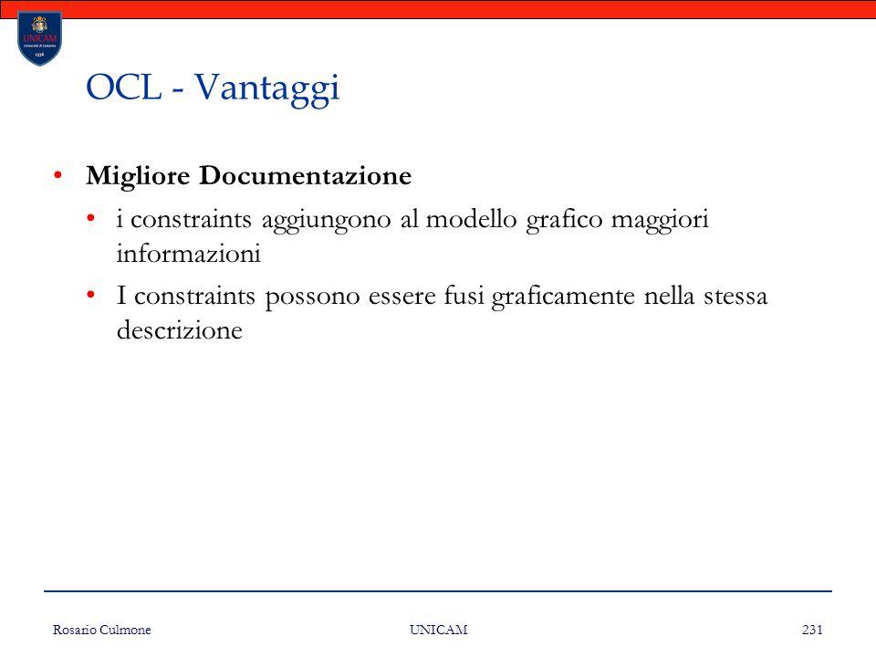 OCL - Vantaggi Migliore Documentazione