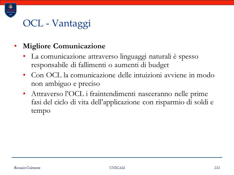 OCL - Vantaggi Migliore Comunicazione