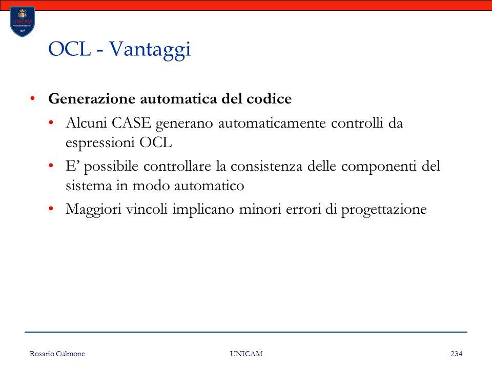 OCL - Vantaggi Generazione automatica del codice