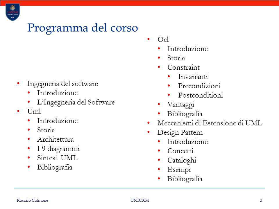 Programma del corso Ocl Introduzione Storia Constraint Invarianti