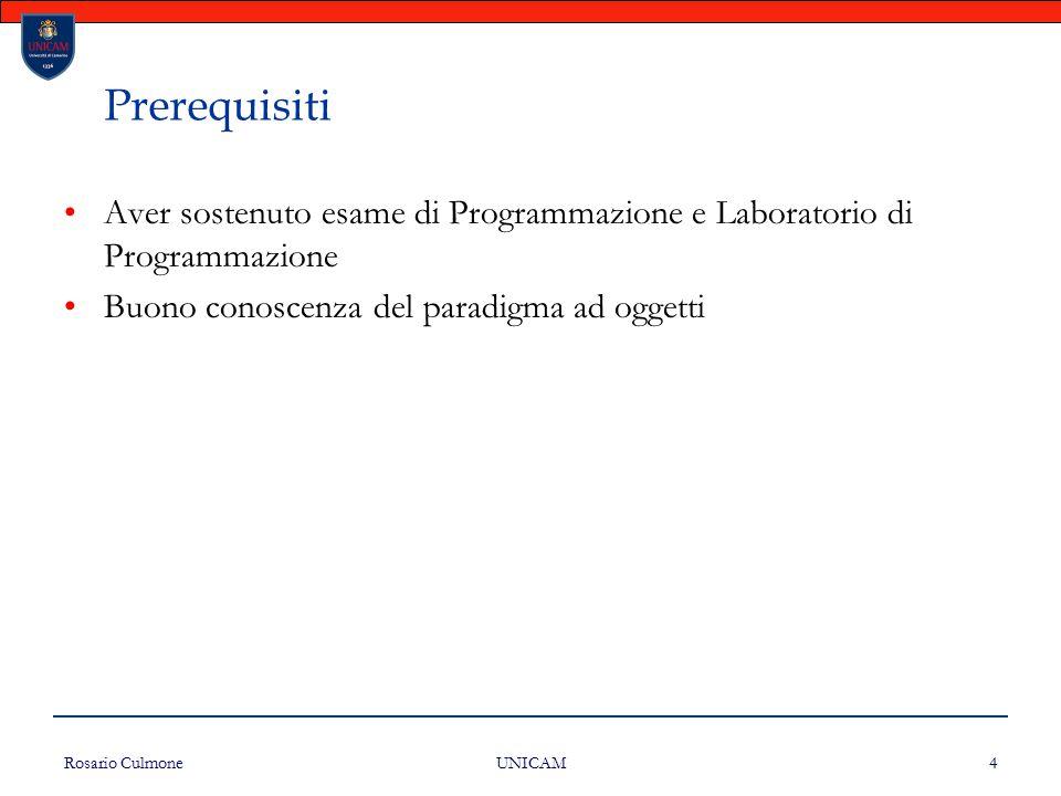 Prerequisiti Aver sostenuto esame di Programmazione e Laboratorio di Programmazione. Buono conoscenza del paradigma ad oggetti.
