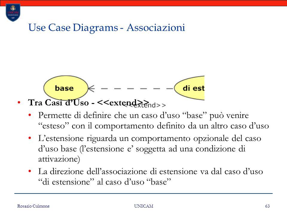 Use Case Diagrams - Associazioni