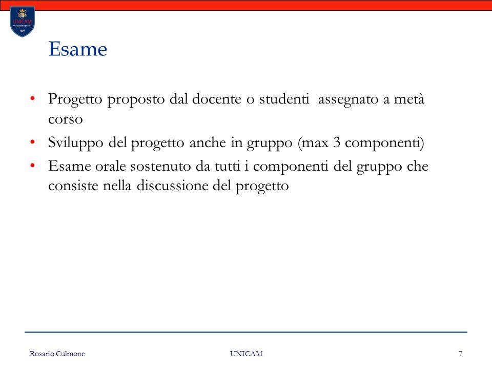 Esame Progetto proposto dal docente o studenti assegnato a metà corso